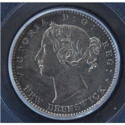 1864 New Brunswick Ten Cent  - PCGS AU58. Superb Strike, so close to UNC.