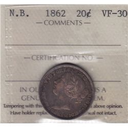 1862 New Brunswick Twenty Cent - ICCS VF-30.