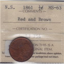 1861 Nova Scotia Half Cent  - ICCS MS-63 Red and Brown.