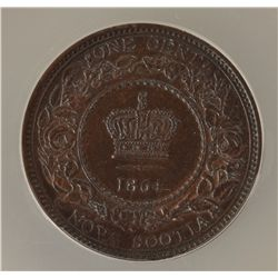 1864 Nova Scotia One Cent - ANACS MS-62 Brown.