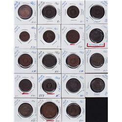 Lot of Nova Scotia Half Cents, Cents & Tokens - Lot includes: 1813 Trade and Navigation, 1861 half c