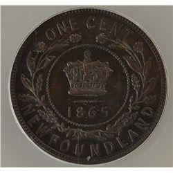 1865 Newfoundland One Cent - ANACS AU-55.
