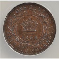 1894 Newfoundland One Cent - ANACS AU-55.