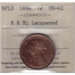 1896 Newfoundland One Cent - ICCS MS-62 Red and Brown, Lacquered.