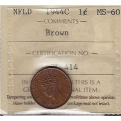 1944C Newfoundland One Cent - ICCS MS-60 Brown.