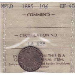 1885 Newfoundland Ten Cent - ICCS EF-40.
