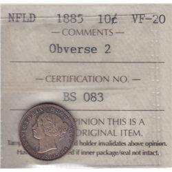 1885 Newfoundland Ten Cent - ICCS VF-20, Obverse 2.