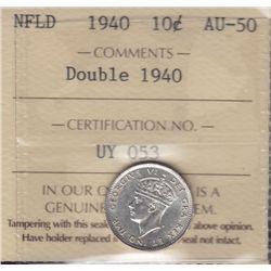 1940 Newfoundland Re-engraved Ten Cent  - ICCS AU-50.