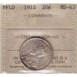 1912 Newfoundland Twenty Cent  - ICCS MS-63.