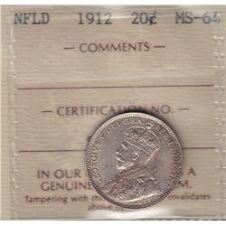 1912 Newfoundland Twenty Cent  - ICCS MS-64.