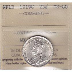 1919C Newfoundland Twenty Five Cent - ICCS MS-60.