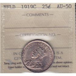 1919C Newfoundland Twenty Five Cent - ICCS AU-50.