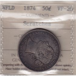 1874 Newfoundland Fifty Cent  - ICCS VF-20 scratches.