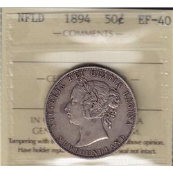 1894 Newfoundland Fifty Cent - ICCS EF-40.