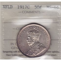 1917C Newfoundland Fifty Cent - ICCS MS-64.