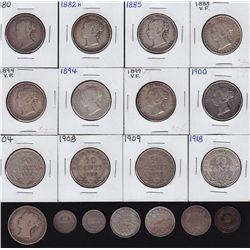 Provincial Decimal Lot - Include 19 Pieces. Nova Scotia: 1861 half cent. New Brunswick: 1862 Twenty
