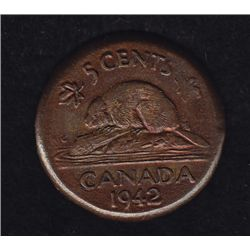 1942 Five Cent - Struck out of collar. Very interesting error worth inspecting.