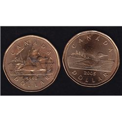 1990 & 2005 One Dollar Loonies  - 1990 contains dabs of a hard substance, glue or a lacquer. The 200