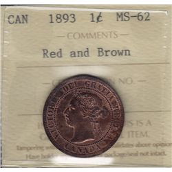 1893 One Cent - ICCS MS-62 Red and Brown.