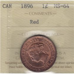 1896 One Cent - ICCS MS-64 Red.