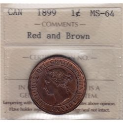 1899 One Cent - ICCS MS-64 Red and Brown.