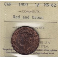 1900 One Cent - ICCS MS-62 Red and Brown.