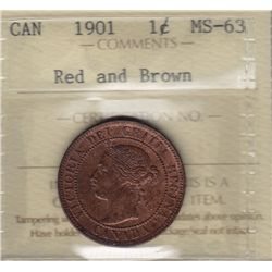 1901 One Cent - ICCS MS-63 Red and Brown.