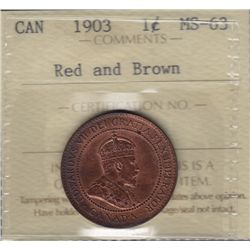 1903 One Cent  - ICCS MS-63 Red and Brown.