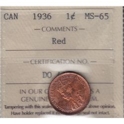 1936 One Cent - ICCS MS-65 Red.