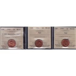 Lot of Two PCI Graded Cents - 1940 MS66 Red & 1944 MS65 RB. We don't handle many PCI coins, please v
