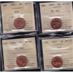 Lot of 4 ICCS graded small One Cents - 1951 MS-64 Red; 1953 MS-63 SF, Red; 1954 MS-64 SF, Red; 1957