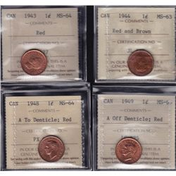 Lot of 4 ICCS graded small One Cents - 1943 MS-64 Red; 1944 MS-63 Red and Brown; 1948 MS-64, A To De