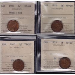 Lot of 4 ICCS graded small One Cents - 1920 MS-64 Small, Red; 1922 VF-30; 1923 VF-20; 1925 VF-20. 4