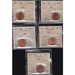 Lot of 5 ICCS graded small One Cents - 1936 MS-64 Red; 1937 MS-64 Red; 1938 MS-65 Red; 1939 MS-65 Re