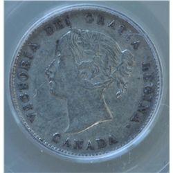 1870 Five Cent - PCGS XF45, Canada Narrow Border.
