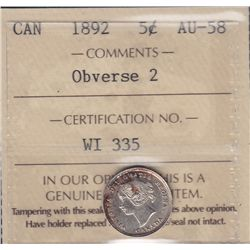 1892 Five Cent - ICCS AU-58 Obv. #2.