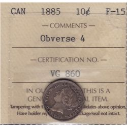 1885 Ten Cent  - ICCS F-15, obv. 4.