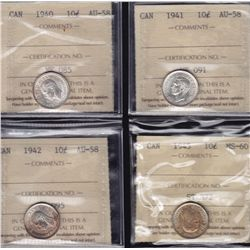 Lot of Four Ten Cents - 1940 ICCS AU-58; 1941 ICCS AU-58; 1942 ICCS AU-58; 1945 ICCS MS-60. 4 Pcs.