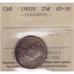 1902H Twenty Five Cent  - ICCS AU-50.