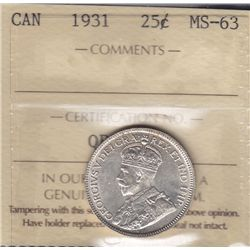 1931 Twenty Five Cent - ICCS MS-63.
