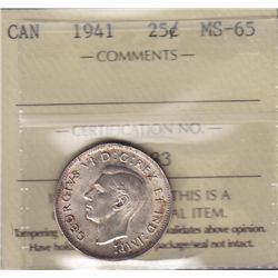 1941 Twenty Five Cent - ICCS MS-65.