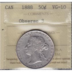 1888 Fifty Cent - ICCS VG-10, Obv. 3.