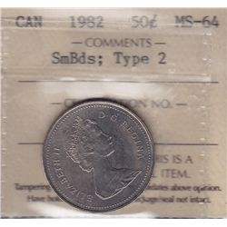 1982 Fifty Cent  - ICCS MS-64, Small beads; type 2.