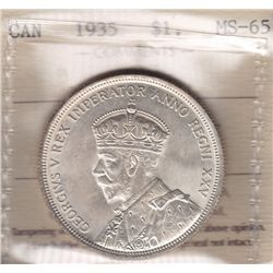 1935 Silver Dollar  - ICCS MS-65. Full Lustre, white.