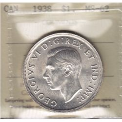1938 Silver Dollar  - ICCS MS-62.