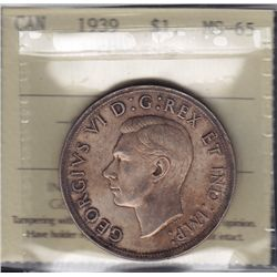 1939 Silver Dollar - ICCS MS-65 Beautiful original toning.