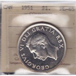 1951 Silver Dollar - ICCS PL-65.