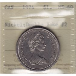 1974 One Dollar - ICCS MS-60, double yoke #2.