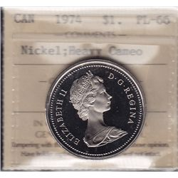 1974 One Dollar - ICCS PL-66 Heavy Cameo.