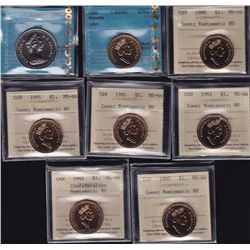 Lot of Fifteen Graded Dollars  - Dates include: 1978 nickel dollar CCCS UNC-66, 1990 Loon CCCS UNC-6